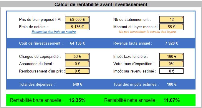 Calcul de rentabilité du lots de parkings pour deux roues sur Paris que Anne met en vente.