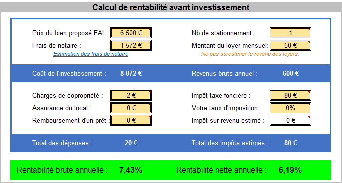 Analyse d'un lot de parking à vendre en Ile de France