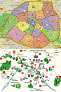 Plan des arrondissements de Paris