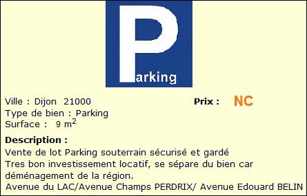 Annonce du lot de parkings à vendre sur Dijon