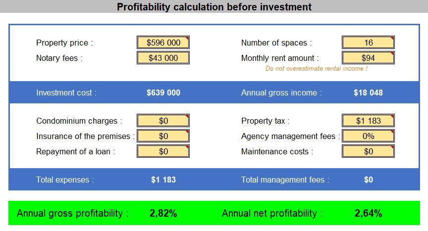 16 garages lot profitability simulation
